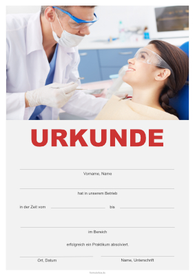 Praktikumsurkunde Dental hier downloaden