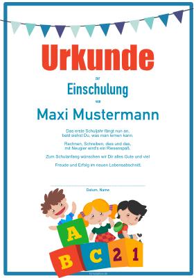 Kinderurkunde zur Einschulung (Fahnen) | Pdf-Vorlage zum ...