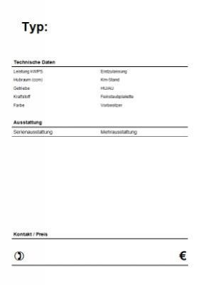 KFZ Verkaufsschild, Hochformat (PDF) | Vorlage, Muster zum Ausdrucken