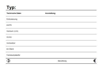 KFZ Verkaufsschild, Querformat (PDF) | Vorlage, Muster zum Ausdrucken