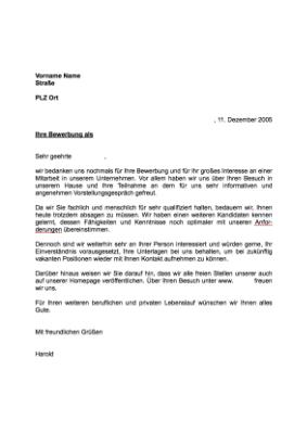 Musterbrief Absage Einer Bewerbung Aufnahme Reservepool Vorlage