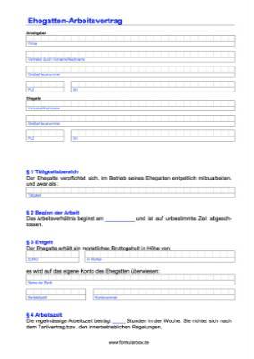 Arbeitsvertrag Für Ehegatten Formular Pdf Vorlage Muster Zum