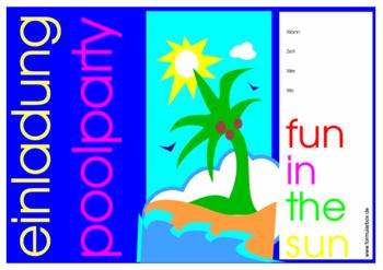 Einladung zur Pool-Paty - Einladungskarte zur Pool-Paty.