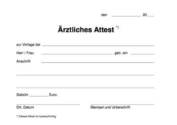 Ärztliches Attest (mit Gebühr) zum herunterladen und ausdrucken