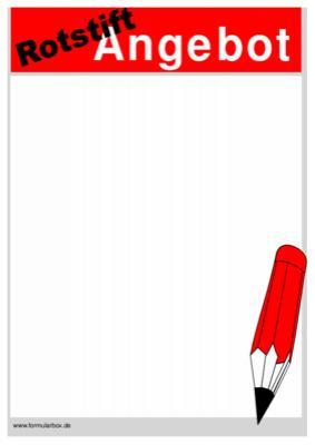 Schild Poster Rotstift Angebot Vorlage Muster Zum Ausdrucken