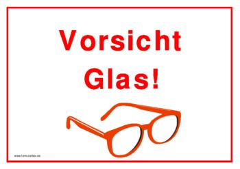 Schild, Vorsicht Glas (Schutzbrille) | Vorlage, Muster zum Ausdrucken