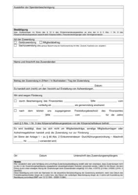spendenbescheinigung vorlagen und muster zum ausdrucken - Zuwendungsbestatigung Muster