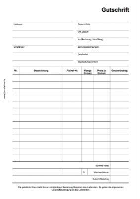 Gutschrift | Vorlagen, Muster zum downloaden