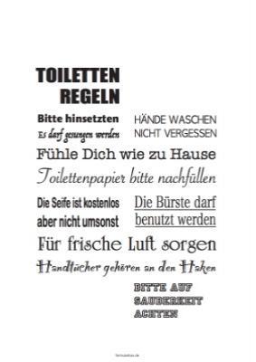 Schild, Toilettenregeln | Pdf-Vorlage zum Ausdrucken