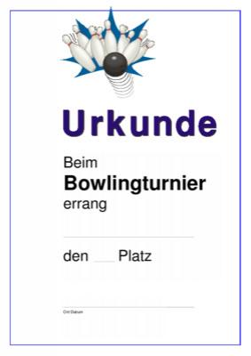 Urkunde Bowling, Strike hier downloaden