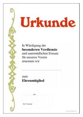 Urkunde Ehrenmitglied Verdienste Vorlage Muster Zum Ausdrucken