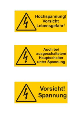 13 Warnschilder Elektrotechnik | Vorlage, Muster zum Ausdrucken