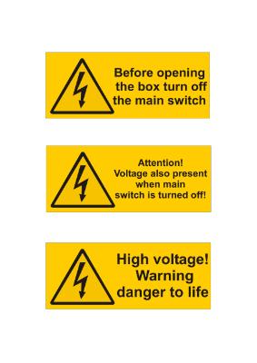 4 Warnschilder Elektrotechnik, englisch | Vorlage, Muster zum