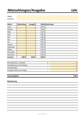 Mieteinnahmen Excel Vorlage Zum Herunterladen