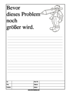 Cartoon Faxformular, bevor dieses Problem ...
