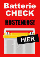 Plakat 'Batterie Check'