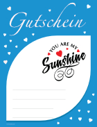 Gutschein 'You are my Sunshine', Blau