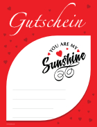 Gutschein 'You are my Sunshine', Rot