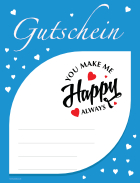 Gutschein 'You make me Happy', Blau