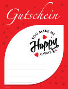 Gutschein 'You make me Happy', Rot