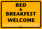 Schild Bad & Breakfast (Gelb)