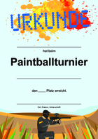 Urkunde Paintball, Blau